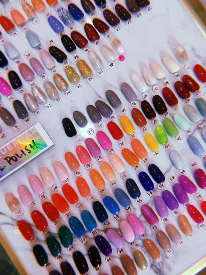 The selection of colors, nails, and nail art one can have done.