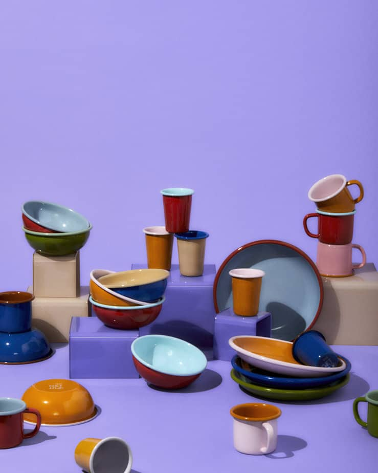 Assortment of available enamel cookware sets