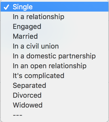 A dropdown from Facebook's relationship category.