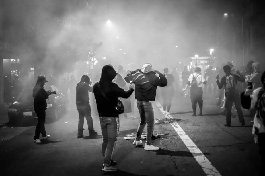 Tear gas being fired into the crowd as Oakland Police try to disperse the crowd.